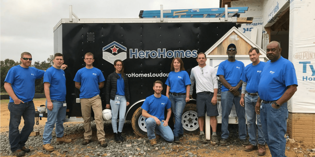 HeroHomes volunteers on the job building a home for a disabled veteran. Founder Jason Brownell in the white shirt.