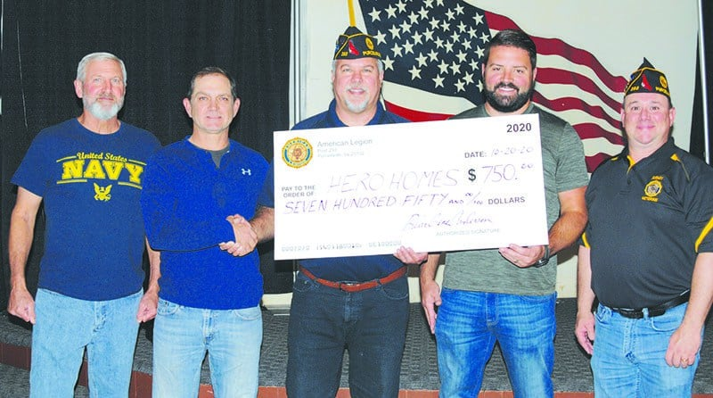 Picture of Purcellville American Legion presenting check to Jason Brownell and Matt Lowers.